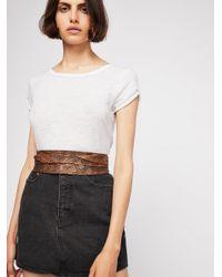 Free People - Brown Serpentine Leather Obi Belt - Lyst