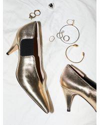 Free People - Metallic Shoes Heels & Wedges Leather Florence Heel - Lyst