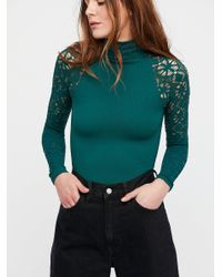 Free People - Green Rib And Lace Turtleneck - Lyst