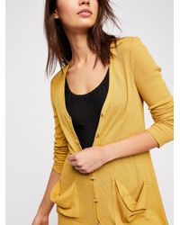 Free People - Yellow Ribbed Up Maxi Cardigan - Lyst