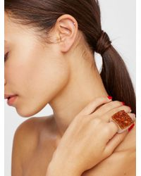 Free People - Natural Carved Raw Stone Ring - Lyst