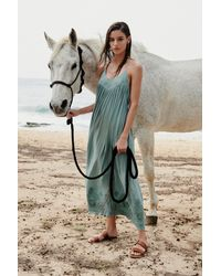 Free People - Blue Embroidered Elaine Maxi Slip By Intimately - Lyst