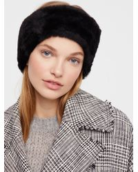 Free People - Black Higher Ground Shearling Headband - Lyst