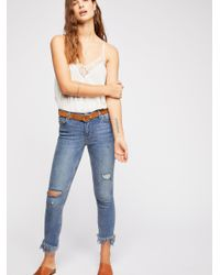 Free People - Blue Great Heights Frayed Skinny Jeans By We The Free - Lyst