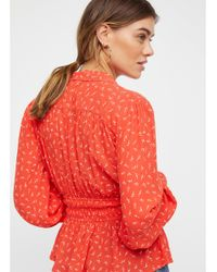 Free People - Red Colette Printed Buttondown Top - Lyst
