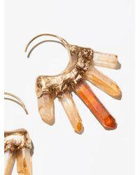 Free People - Metallic Icicle Raw Quartz Hoop Earrings - Lyst