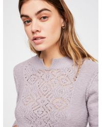 Free People - Purple Frosted Lace Jumper - Lyst