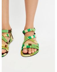 Free People - Green Woven Sandal - Lyst