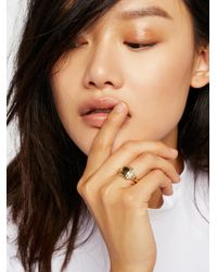 Free People | Metallic Engraved Signet Ring | Lyst