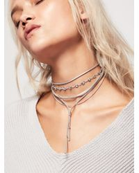 Free People - Metallic Wanted & Wild Leather Bolo - Lyst
