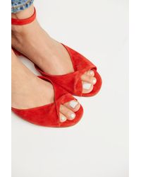 Free People - Red Gisele Block Heel - Lyst