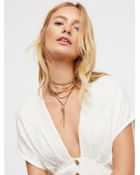Free People - Brown Jayden Charm Mix Leather Bolo - Lyst