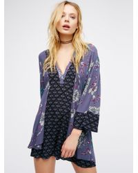 Free People | Blue Abbie Printed Mini Dress | Lyst