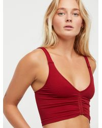 Free People - Red Seamless Corset Crop - Lyst