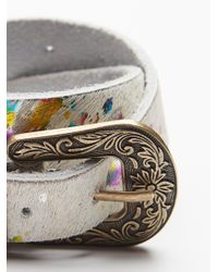 Free People - Multicolor Animal Print Leather Belt - Lyst