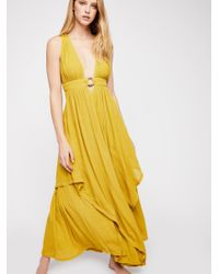 Free People - Yellow Just Right For You Maxi Dress - Lyst