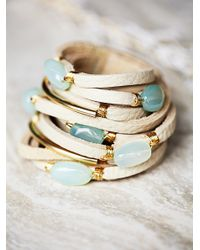 Free People - Natural Baton Leather Wrap Cuff - Lyst