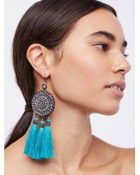 Free People - Blue Winona Embellished Tassel Earrings - Lyst