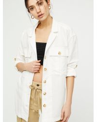 Free People - White Sunshine In My Pockets Buttondown - Lyst
