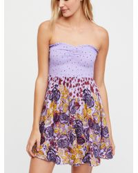Free People - Purple Sweet Trip Smocked Tube Top - Lyst
