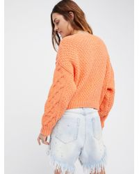 Free People | Orange Bonfire Sweater | Lyst