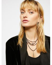 Free People | Brown Delicate Tiered Stone Necklace | Lyst