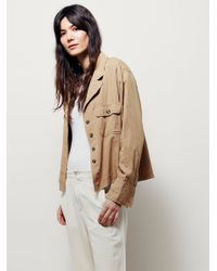 Free People | Brown Carolina Yarn Dye Buttondown Top | Lyst