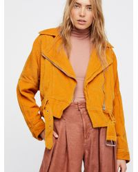 Free People | Orange Slouchy Dolman Moto Jacket | Lyst