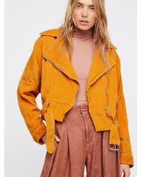 Free People - Orange Slouchy Dolman Moto Jacket - Lyst