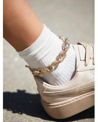 Free People - Metallic Chain Link Metal Anklet - Lyst