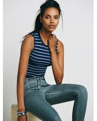 Free People - Blue Cropped Muscle Tank - Lyst