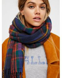 Free People - Blue Accessories Scarves Evie Plaid Fringe Scarf - Lyst