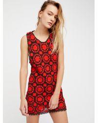 Free People | Red Delilah Crochet Shift Dress | Lyst