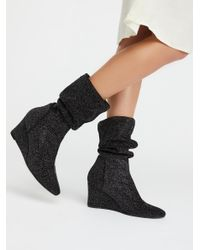 Free People | Black Seville Wedge Boot | Lyst