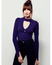 Free People | Purple Double Dot Turtle Neck | Lyst