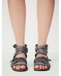 Free People - Gray Durango Metal Gladiator Sandals - Lyst