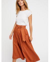 Free People - Orange Dream Of Me Midi Skirt - Lyst