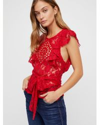 Free People Red Celeste Lace Top