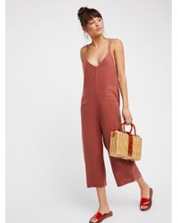 Free People - Red Wide Leg One-piece - Lyst
