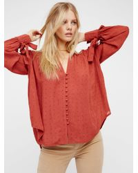 Free People | Red Embellished Button Down Shirt | Lyst