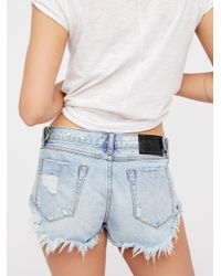 Free People - Blue Bonitas Denim Shorts - Lyst