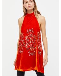 Free People - Red Jill's Sequin Swing Mini Dress - Lyst