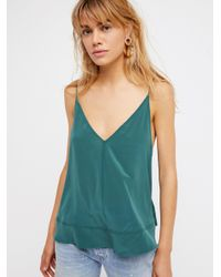 Free People - Green Up All Night Silk Cami - Lyst