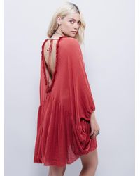 Free People - Red Get Yer Gauze Tunic - Lyst