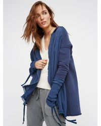 Free People | Blue Get Your Gauze Cardi | Lyst