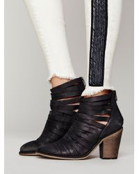 Free People | Black Hybrid Strappy Ankle Boots | Lyst