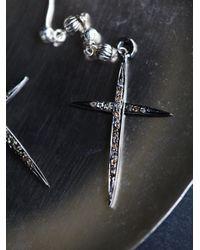 Free People   Metallic Jet Plane Diamond Cross Earring   Lyst