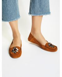 Free People - Brown Jewel Tones Moccasin - Lyst