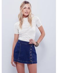 Free People | Blue Keep On Rocking Asymmetrical Skirt | Lyst