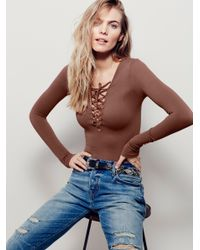 Free People | Brown Lace Up Layering Top | Lyst